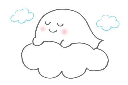 雲の上で寝ているばけふわ